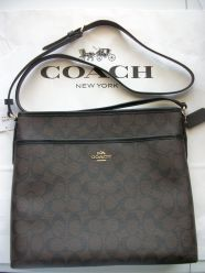 Coach F34938 NWT Signature PVC Covered Canvas File Bag Brown/Black Retails @ $225
